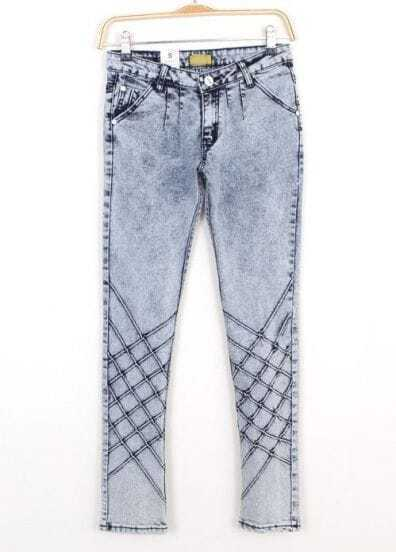 Blue Plaid Pockets Denim Pencil Pant