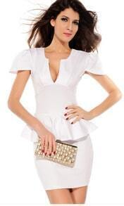 White Short Sleeve V Neck Ruffle Party Dress