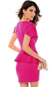 Pink Short Sleeve V Neck Ruffle Party Dress