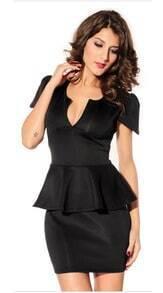 Black Short Sleeve V Neck Ruffle Party Dress