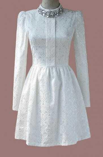 White Long Sleeve Rhinestone Lace Pleated Dress