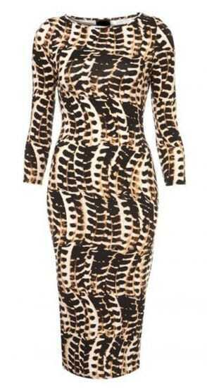 Brown Long Sleeve Serpentine Print Bodycon Dress