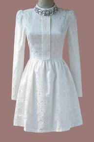 White Long Sleeve Rhinestone Lace Pleated Dress