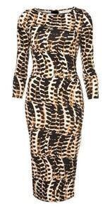 Brown Long Sleeve Serpentine Print Bodycon Dress
