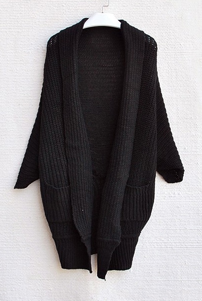 Black Batwing Sleeve Pockets Oversized Cardigan Sweater -SheIn ...