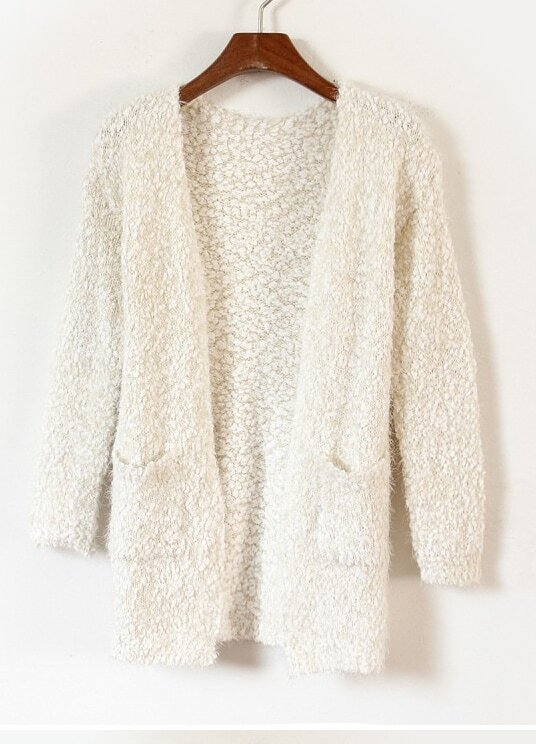 Apricot Long Sleeve Pockets Fluffy Cardigan Sweater -SheIn(Sheinside)