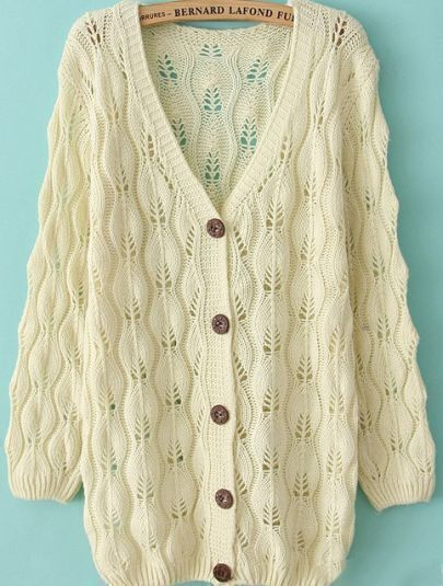 Beige Long Sleeve V Neck Hollow Sweater