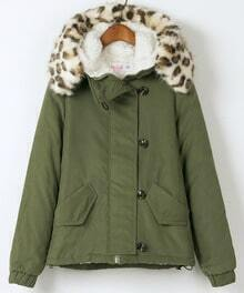 Army Green Long Sleeve Hooded Contrast leopard Fur Coat