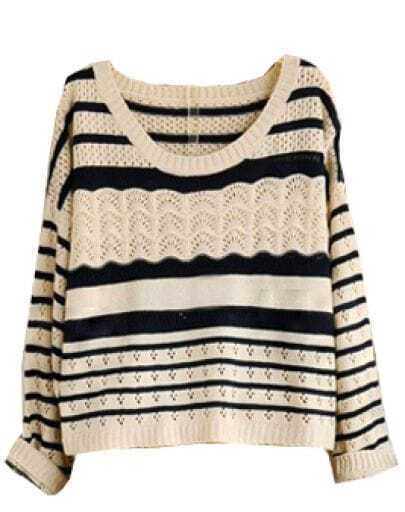 Beige Black Stripe Hollow Sweater
