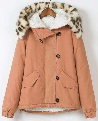 Pink Long Sleeve Hooded Contrast leopard Fur Coat