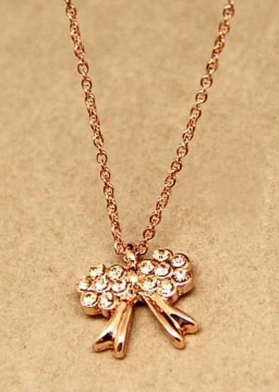 Gold Diamond Bow Chain Necklace