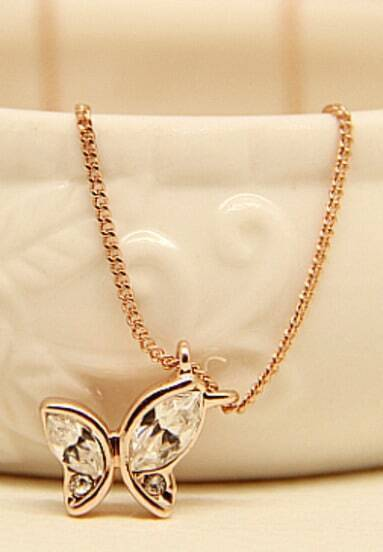 Gold Diamond Butterfly Chain Necklace