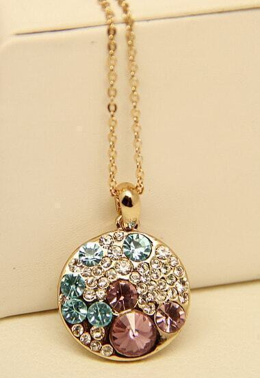 Multi Diamond Gold Round Chain Necklace