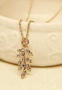 Gold Diamond Leaf Necklace