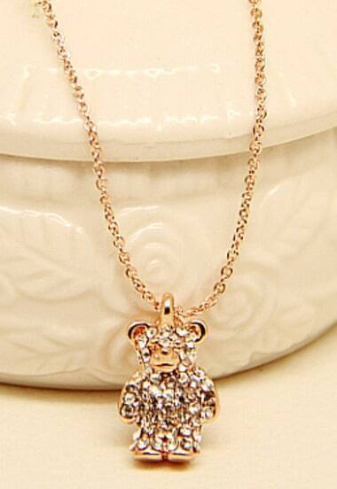 Gold Diamond Bear Chain Necklace