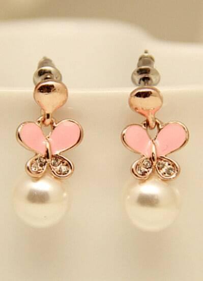 Gold Glaze Butterfly Pearl Earrings