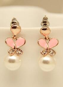Gold Glaze Butterfly Pearl Earrings