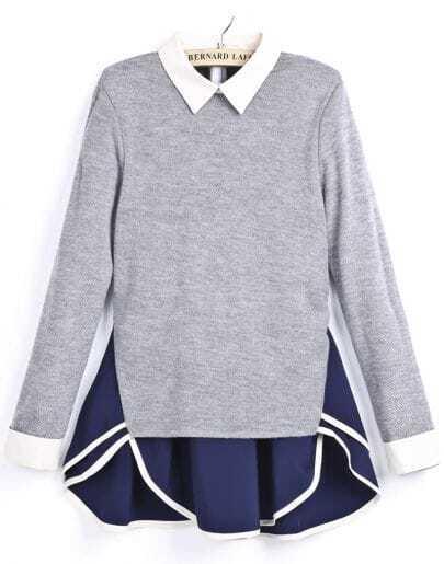 Grey Lapel Contrast Blue Asymmetrical Ruffle Dress