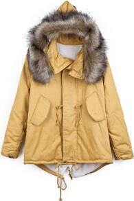 Yellow Faux Fur Hooded Drawstring Loose Coat