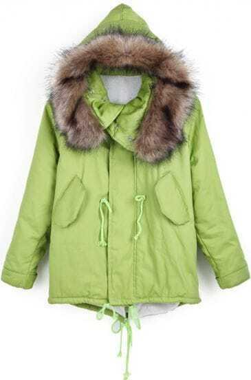 Green Faux Fur Hooded Drawstring Loose Coat