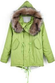 Green Faux Fur Hooded Drawstring Loose Coat