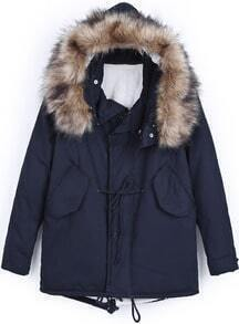 Navy Faux Fur Hooded Drawstring Loose Coat