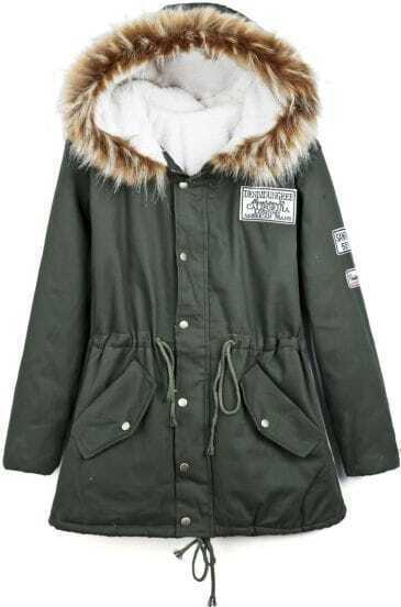 Army Green Faux Fur Hooded Drawstring Badge Coat