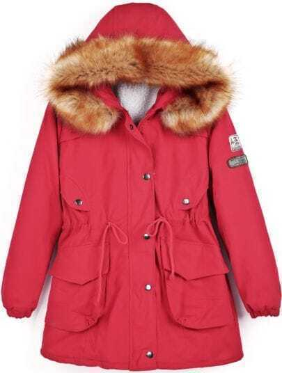 Red Faux Fur Hooded Badge Pockets Coat