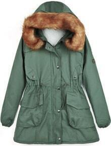 Army Green Faux Fur Hooded Badge Pockets Coat