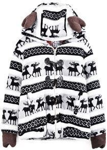 Grey Hooded Long Sleeve Deer Geometric Print Coat