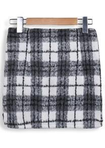 Grey Pockets Plaid Bodycon Skirt