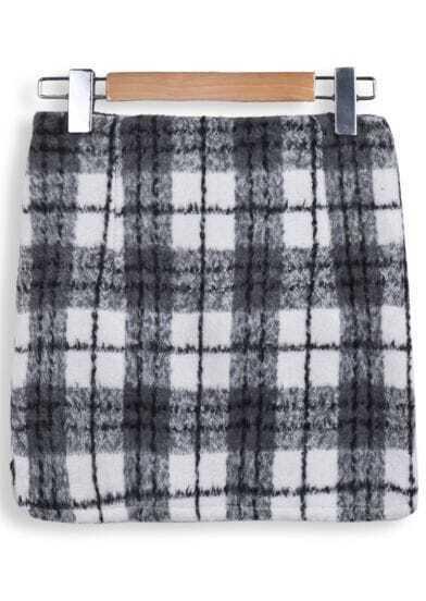 Grey Pockets Plaid Bodycon Skirt