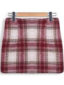 Red Pockets Plaid Bodycon Skirt