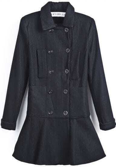 Black Lapel Long Sleeve Double Breasted Ruffle Coat