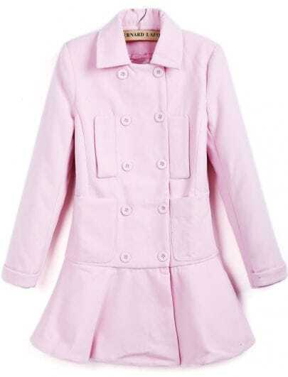 Pink Lapel Long Sleeve Double Breasted Ruffle Coat
