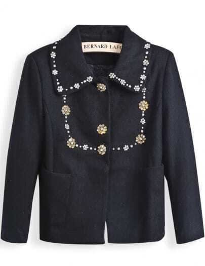 Black Lapel Long Sleeve Rhinestone Pockets Coat
