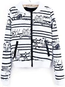 White Black Striped Cartoon Print Crop Jacket