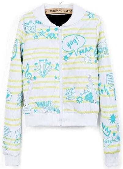 White Yellow Striped Cartoon Print Crop Jacket