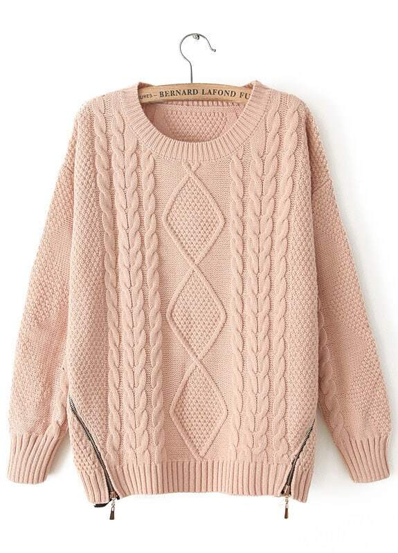 Pink Long Sleeve Zipper Loose Cable Knit Sweater -SheIn(Sheinside)