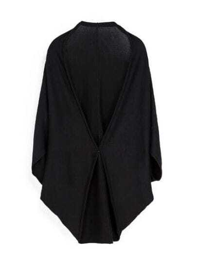 Black Batwing Sleeve Loose Knit Cape Cardigan