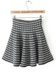 Black Houndstooth Ruffle Knit Skirt