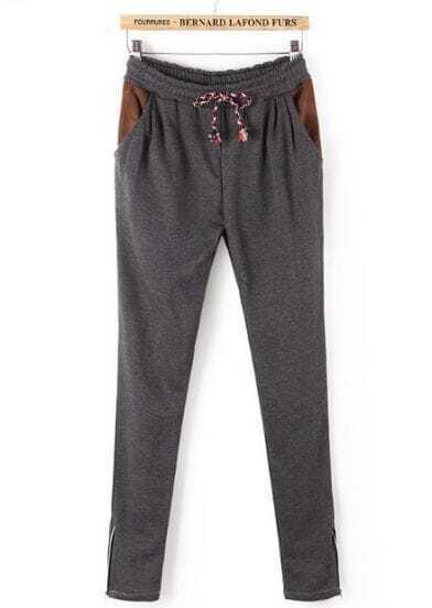 Grey Drawstring Waist Zipper Pockets Pant