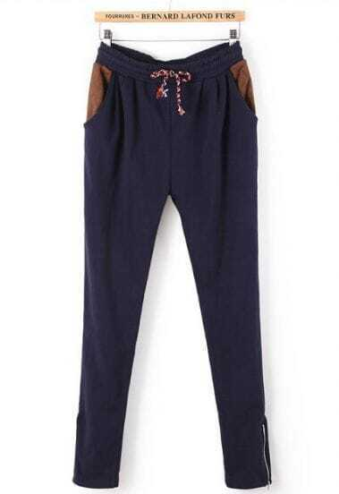 Blue Drawstring Waist Zipper Pockets Pant