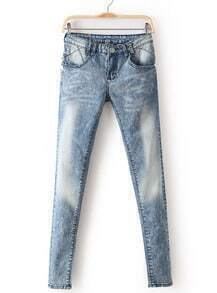 Blue Bleached Lace Pockets Denim Pant