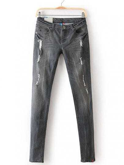 Grey Bleached Ripped Pockets Denim Pant