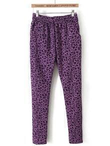 Purple Elastic Waist Leopard Slim Pant