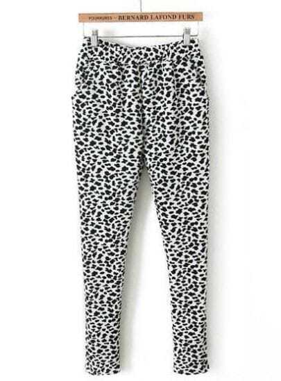 White Elastic Waist Leopard Slim Pant