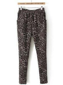 Khaki Elastic Waist Leopard Slim Pant