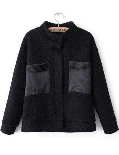 Black Stand Collar Long Sleeve Pockets Woolen Coat