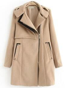 Khaki Long Sleeve Epaulet Oblique Zipper Woolen Coat